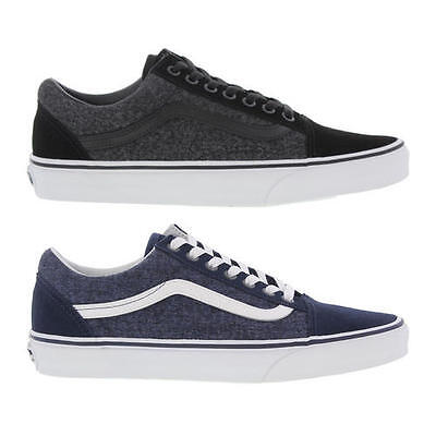0ab4de76f8 Vans Old Skool Mens Suede and Canvas Black Blue Trainers Size 7-12