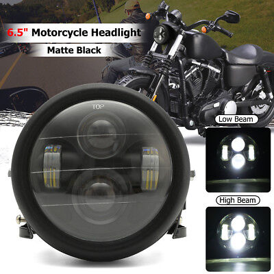 "Black LED 6 1/2"" Motorcycle Projector Daymaker Headlight Bracket Cafe Racer"