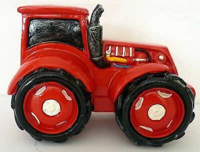 Glossy Painted Polyresin Bright Red Tractor Money Box Needs A New Garage Bnib