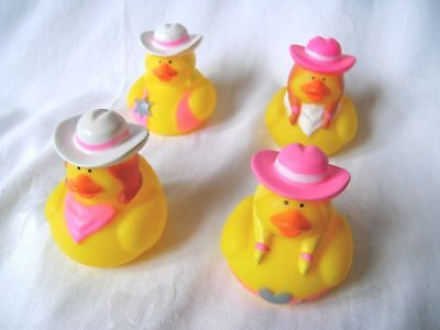 New 4 Fun Novelty Floating Bath Ducks Cowgirl Western Outfits Cute! Pms Opn-C