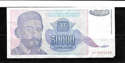 Yugoslavia #130 1993 Vg Circ 50000 Dinara Banknote Paper Money Currency Note