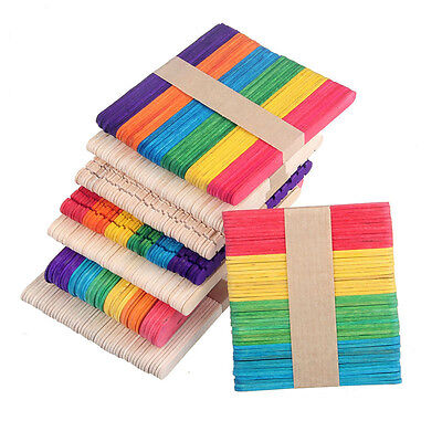 50pcs Fashion Wooden Popsicle Sticks for Party Kids DIY Crafts Ice Cream Pop HG