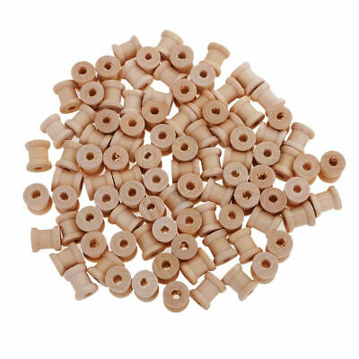 100 Empty Coils Wooden Sewing Bobbins Empty Thread Spools DIY Tool 14mmx12mm