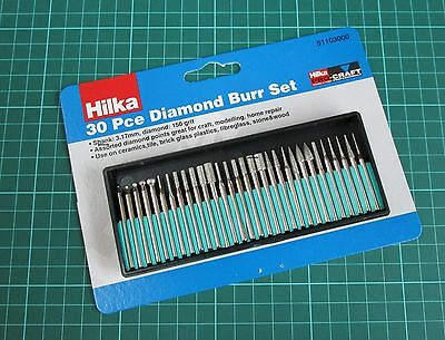 30pc Hilka Diamond Burr Set Glass Engraving Fits Most Rotary Tool Drill Bits