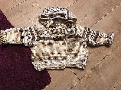 Handmade Hooded baby Jacket  In DK Wool size To Fit birth upwards