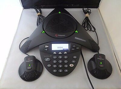 Polycom SoundStation 2 Expandable Conferencing Phone w/ 2x Mics & Wall Module