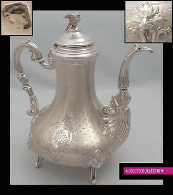 SPECTACULAR ANTIQUE 1860s FRENCH ALL STERLING SILVER TEA POT Napoleon III Style