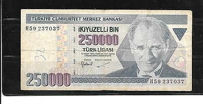 Turkey #211 1998 250000 Lira Vg Used Banknote Paper Money Currency Bill Note