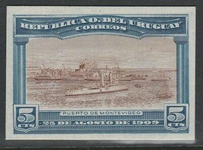 Uruguay 4772 - 1900 CRUISER IN PORT MONTEVIDEO 5c IMPERF COLOUR TRIAL on card