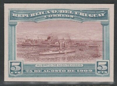 Uruguay 4773 - 1900 CRUISER IN PORT MONTEVIDEO 5c IMPERF COLOUR TRIAL on card