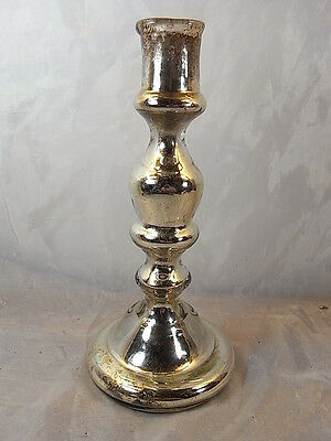 Ancien Bougeoir Verre Eglomise Candlestick