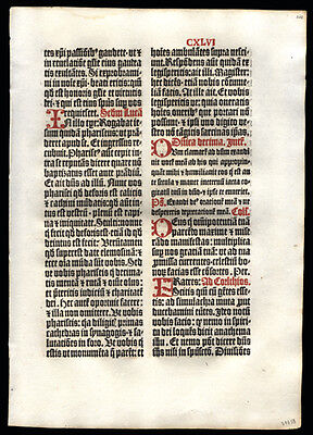 Large 1499 1st Edition Missal Leaf Gothic Script 10th Sunday After Pentecost