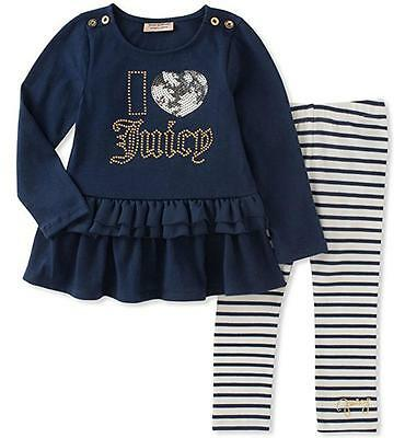 Juicy Couture Girls L/S Medieval Blue Tunic 2pc Legging Set 2T 3T 4T 4 5 6 6X