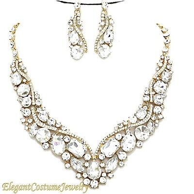 Gold and Clear Bridal Crystal Prom Necklace Set Chunky Elegant Wedding Jewelry