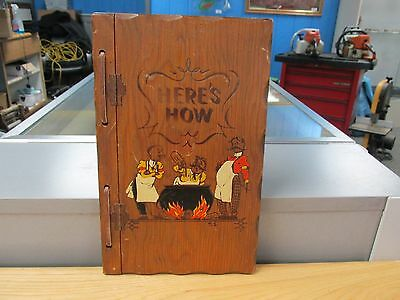 Vintage: 1941 Here's How Mixed Drinks Book With Wood Covers ~Free Ship 702214~