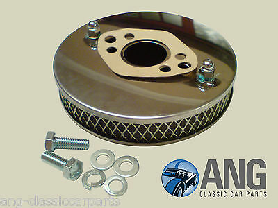 "Austin, Bl, Rover Mini Stainless Steel Hs4 1 1/2"" Su Pancake Air Filter + Gasket"