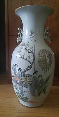 Old Antique Chinese Hand Painted Porcelain Floor Vase