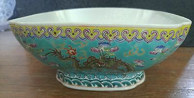 Old Antique Chinese Square Footed Hand Painted Porcelain Bowl