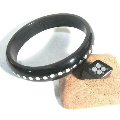 Horn bangle bracelet & ring with metal inlay B29