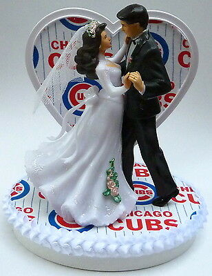 Wedding Cake Topper Chicago Cubs Themed Baseball Couple Dancing Sports W Garter
