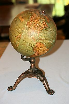 Vintage 1920s Terrestrial World Globe by Bacon &  Co London