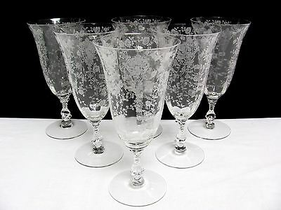 SET OF 6 CAMBRIDGE 12 oz ROSE POINT 3121 CLEAR 7-1/2 ICED TEA GLASSES LOT