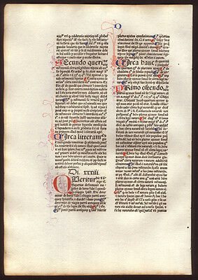 1477 Incunable Leaf Commentary on  Sentences of Peter Lombard  Bishop of Paris