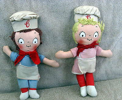"2 Campbell Soup ""campbell Kid"" Dolls 1973 Knickerbocker Toy Co."