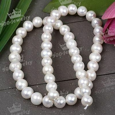 8-9Mm Cultured Freshwater White Round Loose Pearl Beads For Jewellery Craft Diy