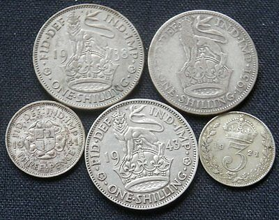 GREAT BRITAIN (UK), 5 DIFF OLD SILVER COINS: 3d 1921, 41,  SHILLING 1931, 38, 43