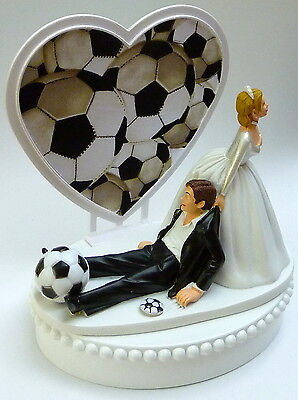 SOCCER BALL BRIDE Groom Wedding Cake Topper Sport Top Football Funny ...