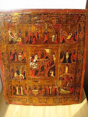 Icona Russa,Antique Russian Orthodox icon,,Church Feasts,, from 19c.