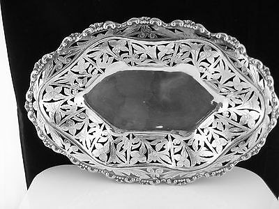 Antique 800 Silver Continental Silver Pierced Bowl Hand Made & Engraved