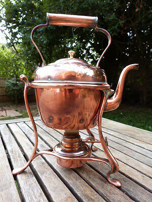 Stunning Antique Copper Kettle On Stand With Burner.