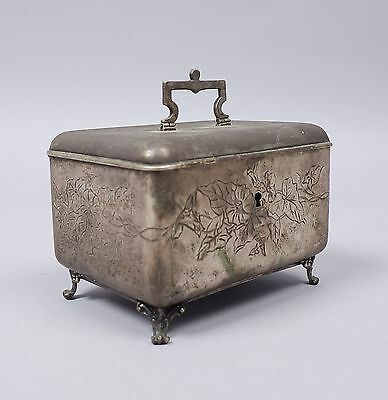 Antique Austria-Hungary c1900 Botanical Engraved Footed 800 Silver Casket Box