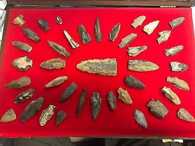 Framed Collection Of 40 Texas Petrified Wood Arrowheads Native American Indian