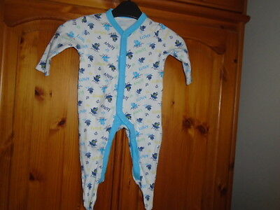 White and turquoise nautical all-in-one / babygrow, FLORENCE & FRED, 3-6 months