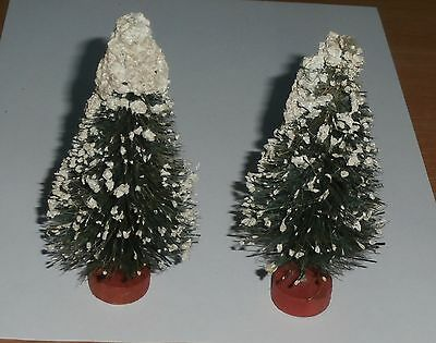 2 Vintage Christmas Putz Bottle Brush Trees Mica Snow Red Wood Bases 5 Inch