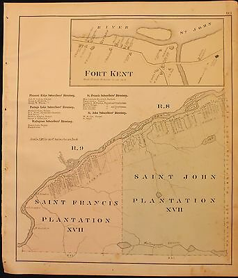 m Original 1877 Roe & Colby Aroostook County Fort Kent Map