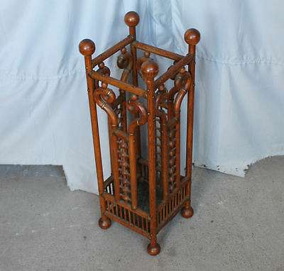 Antique Victorian Oak Stick and Ball Umbrella or cane Stand – 1892
