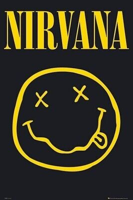 NIRVANA ~ SMILEY FACE 24x36 MUSIC POSTER Kurt Cobain NEW/ROLLED!