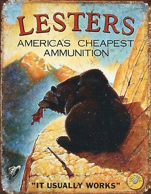 Vintage Lester's Ammunition Hunting Ammo Tin Sign 13 x 16in