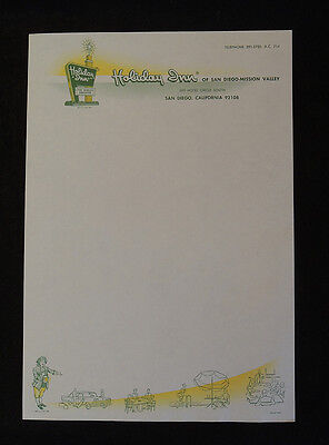 4 Pieces 1960s Holiday Inn Stationery & Envelopes Paper Ephemera.. San Diego, CA