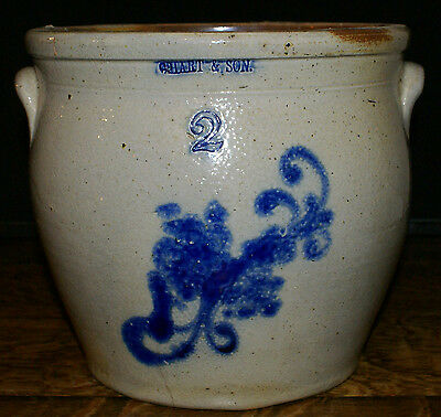 Antique C. Hart & Son Stoneware Two Gallen Blue Floral Decorated Crock w Handles