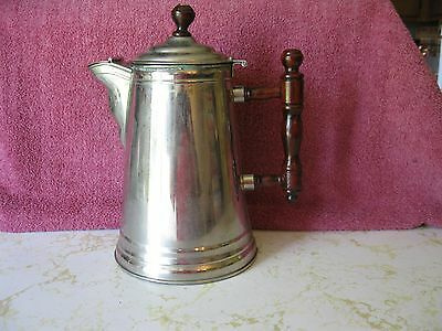 Vintage Pin 3 Coffee Tea Pot With Wooden Handle