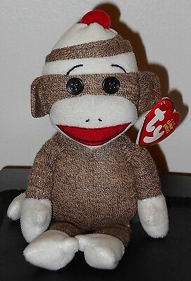 NMT* Ty Beanie Baby ~ SOCKS the SOCK MONKEY (BROWN) ~ MINT with NEAR MINT TAG