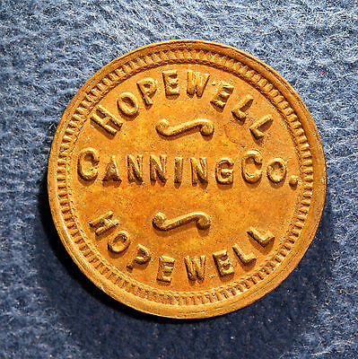 Nice Maryland canning token - Hopewell Canning Co., 1, Hopewell, Md.