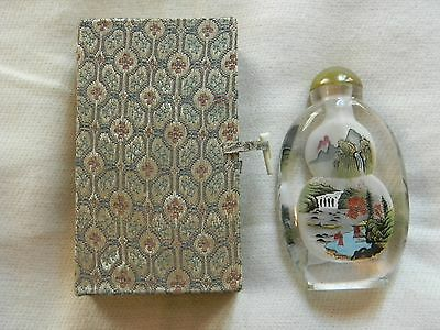 Beautiful Chinese Inside Painted Glass Snuff Bottle With Box