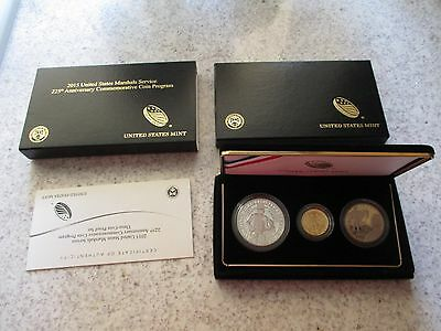 2015 US Marshal Service 3 Coin Commemorative Proof Set Gold $5, Silver $1 ,Half