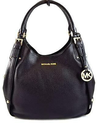 Authentic New Nwt Michael Kors Leather $398 Bedford Black Belted Shoulder Tote